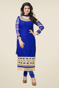 Ethnic Basket Blue Semi Stitched Straight Cut Suit