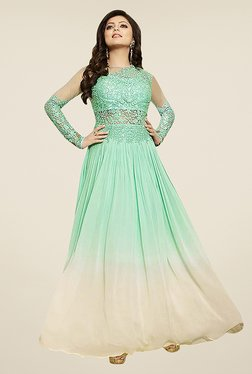 Ethnic Basket Sea Green Semi Stitched Anarkali Gown