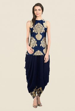 Ethnic Basket Navy Semi Stitched Dhoti Style Set