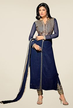 Ethnic Basket Navy Semi Stitched Straight Suit