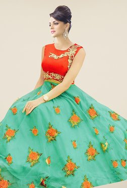 Ethnic Basket Sea Green & Red Semi Stitched Lehenga Suit