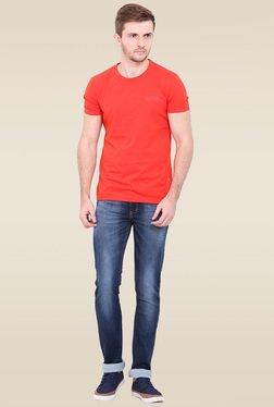 Duke Navy Cotton Mid Rise Jeans