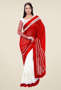 Triveni White & Red Embroidered Faux Georgette Saree