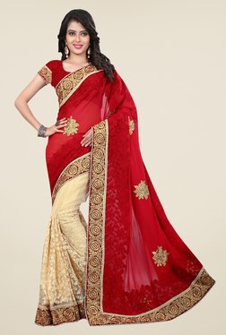 Triveni Cream & Peach Floral Print Faux Georgette Saree