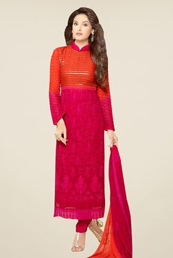 Ethnic Basket Pink Semi Stitched Straight Cut Suit