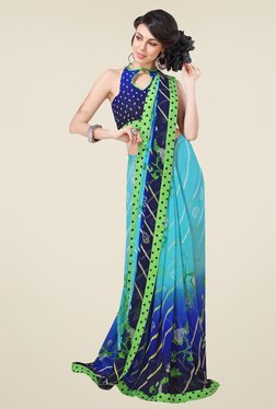 Triveni Sky Blue Printed Faux Georgette Saree - Mp000000000867579
