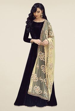 Ethnic Basket Black Semi Stitched Anarkali Suit