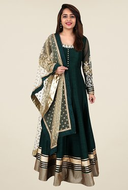 Ethnic Basket Dark Green Semi Stitched Anarkali - Mp000000000867625