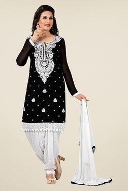 Ethnic Basket Black & Off White Unstitched Salwar Suit