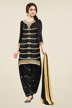 Ethnic Basket Black Semi Stitched Salwar Suit