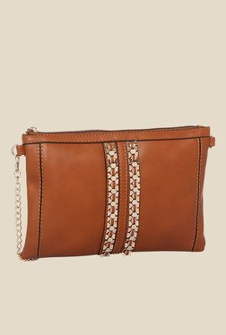 Addons Tan Metal Detailed Sling Bag