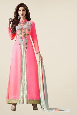Ethnic Basket Pink & Off White Semi Stitched Anarkali Set