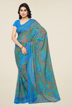 Triveni Brown & Blue Floral Print Faux Georgette Saree
