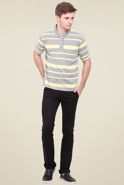 Duke Light Grey Striped Regular Fit T-Shirt