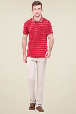 Duke Red Striped Regular Fit T-Shirt