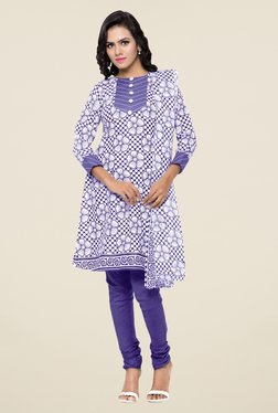 Triveni Off White & Purple Floral Print Dress Material
