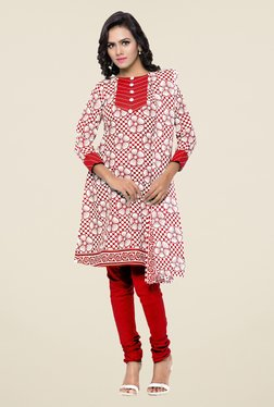 Triveni Off White & Red Floral Print Dress Material