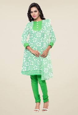 Triveni Off White & Green Floral Print Dress Material