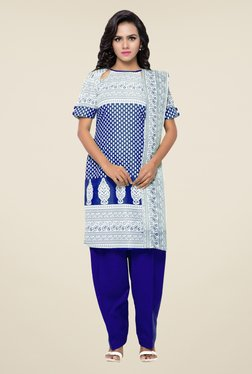 Triveni Off White & Blue Printed Dress Material