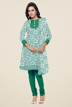 Triveni Off White & Green Floral Print Dress Material - Mp000000000869851