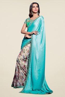 Triveni Cream & Turquoise Floral Print Satin Net Saree