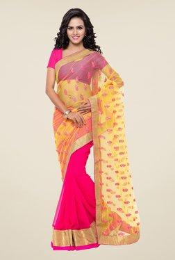 Triveni Pink & Yellow Net Faux Georgette Half And Half Saree