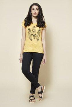 Zudio Yellow Tribal Feather Print T Shirt