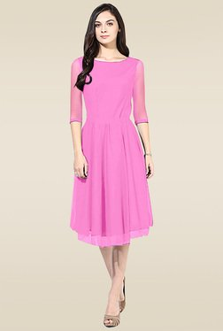 Ethnic Basket Baby Pink Round Neck Regular Fit Kurti