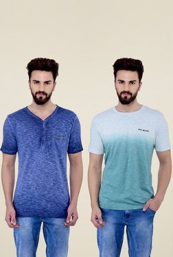 Blue Buddha Blue & Sea Green T-Shirts (Pack Of 2)
