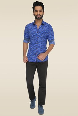JadeBlue Blue Cotton Floral Printed Shirt