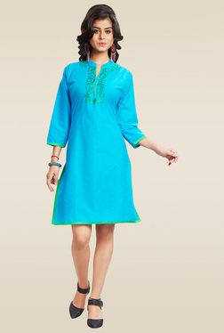Ethnic Basket Sky Blue Cotton Embroidered Kurti