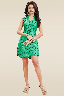 Ethnic Basket Green Sleeveless Printed Kurti