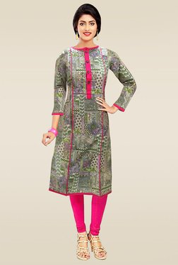 Ethnic Basket Multicolor Round Neck Kurti