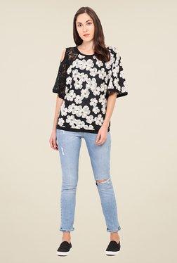 Instacrush Black & Off White Floral Print Top