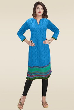 Ethnic Basket Blue Regular Fit 3/4th Sleeves Cotton Kurti