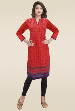 Ethnic Basket Red Stitched Cotton Kurti
