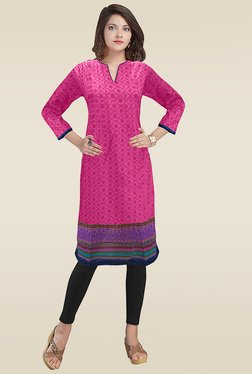 Ethnic Basket Pink Stitched Cotton Kurti