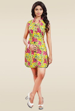 Ethnic Basket Yellow Sleeveless Printed Kurti
