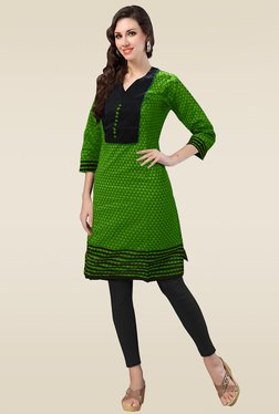 Ethnic Basket Green Stitched Cotton Kurti
