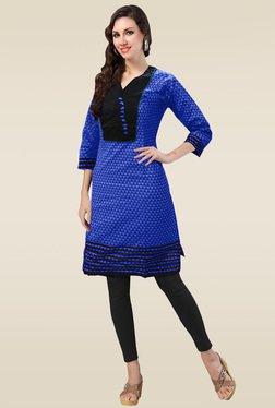 Ethnic Basket Blue Cotton 3/4th Sleeves Kurti