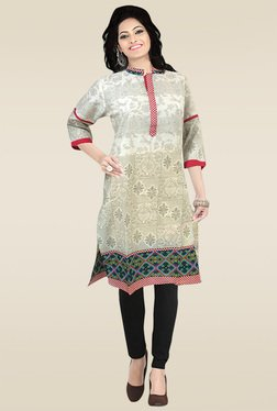 Ethnic Basket Off-White Printed Kurti