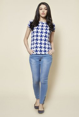 Zudio Blue & White Houndstooth Print T Shirt