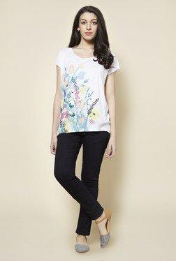 Zudio White Floral Print T Shirt