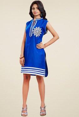 Ethnic Basket Blue Cotton Sleeveless Kurti