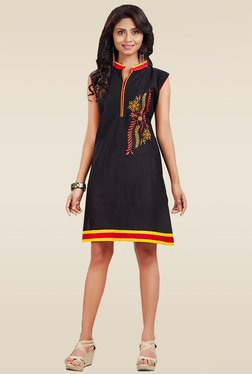 Ethnic Basket Black Sleeveless Cotton Kurti