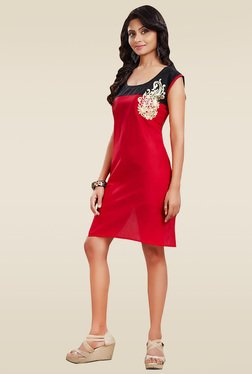 Ethnic Basket Red Embroidered Cotton Kurti
