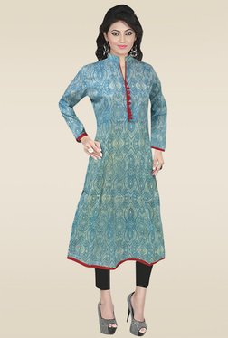 Ethnic Basket Blue Mandarin Collar Cotton Kurti