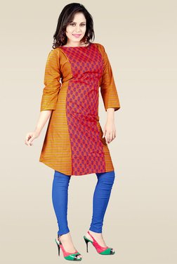 Ethnic Basket Red Cotton Printed Kurti
