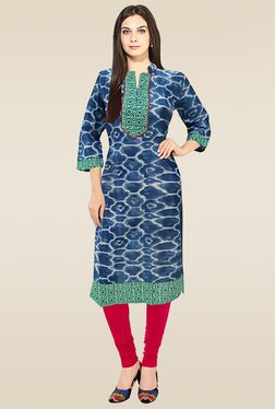 Ethnic Basket Blue Regular Fit Printed Cotton Kurti