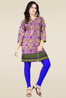 Ethnic Basket Purple Cotton Printed Kurti